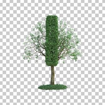 녹색 나무 알파벳의 3d 렌더링 나