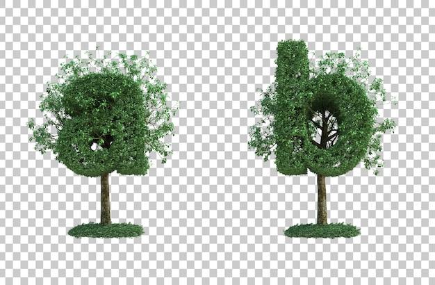 녹색 나무 문자 a와 문자 b의 3d 렌더링