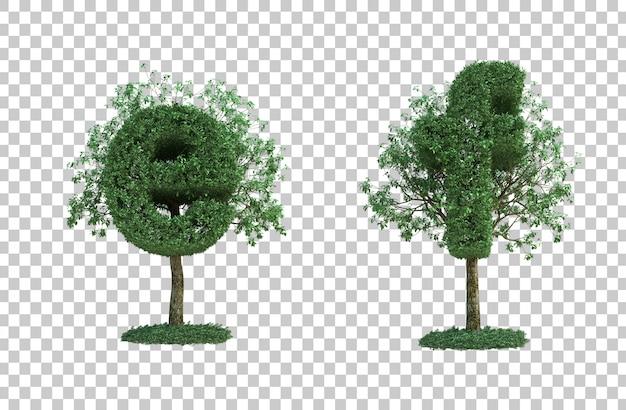 녹색 나무 문자 e와 문자 f의 3d 렌더링