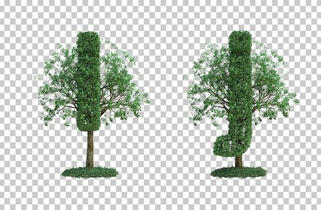 녹색 나무 편지 i와 편지 j의 3d 렌더링