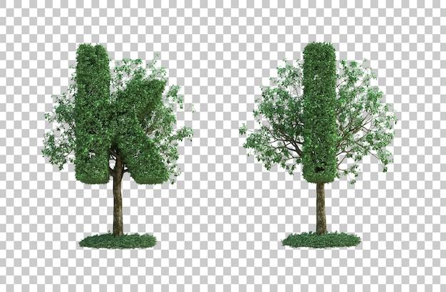 녹색 나무 편지 k와 편지 l의 3d 렌더링
