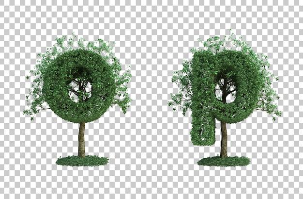 녹색 나무 문자 o와 문자 p의 3d 렌더링