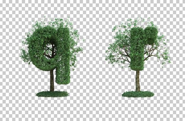 녹색 나무 편지 q와 편지 r의 3d 렌더링