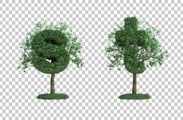 녹색 나무 문자 s와 문자 t의 3d 렌더링