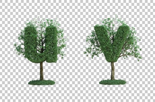 녹색 나무 편지 u와 편지 v의 3d 렌더링