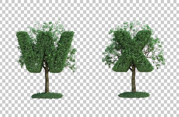 녹색 나무 편지 w와 편지 x의 3d 렌더링