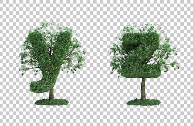 녹색 나무 편지 y와 편지 z의 3d 렌더링