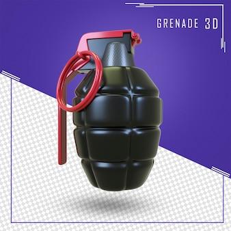 分離された手榴弾の3dレンダリング