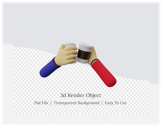 コーヒーを使った手の3dレンダリング Premium Psd