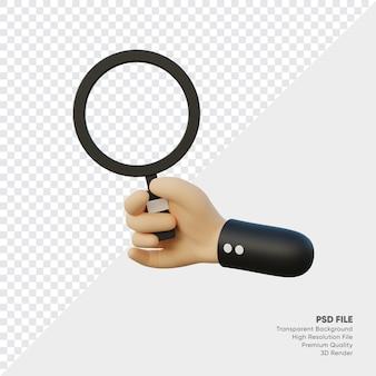 돋보기와 손의 3d 렌더링 프리미엄 PSD 파일