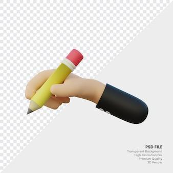 연필로 손의 3d 렌더링 프리미엄 PSD 파일