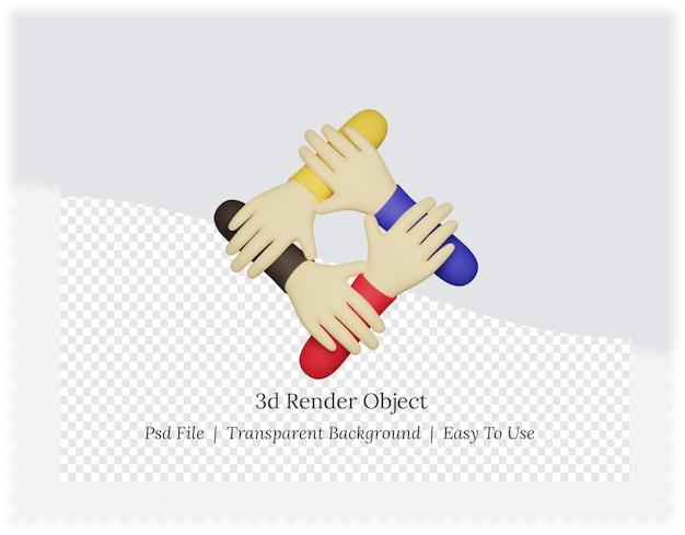 손을 잡고 손의 3d 렌더링