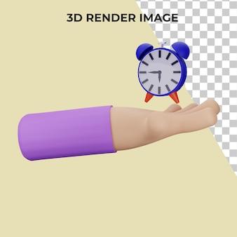 시계 개념 프리미엄 psd와 손의 3d 렌더링