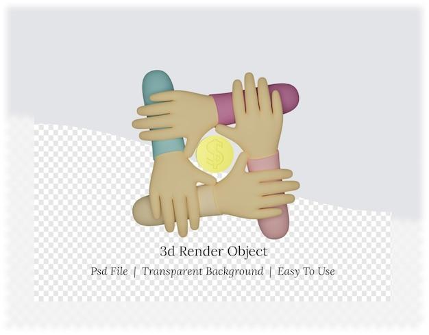 동전과 손의 3d 렌더링
