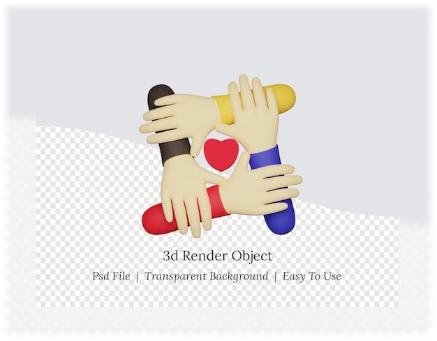 마음으로 손의 3d 렌더링