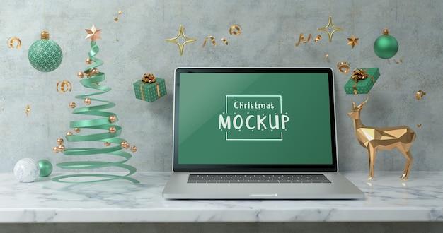 새 해 복과 메리 크리스마스의 3d 렌더링