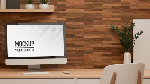 컴퓨터 모형과 홈 오피스 룸의 3d 렌더링