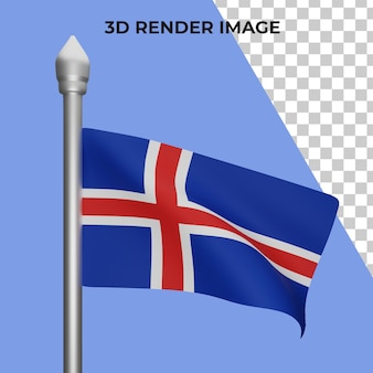 아이슬란드 국기 개념 아이슬란드 국경일의 3d 렌더링