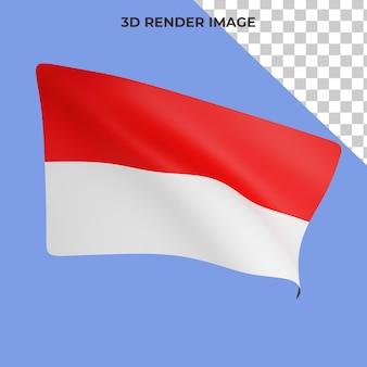 인도네시아 국기 개념 인도네시아 건국 기념일의 3d 렌더링 premium psd