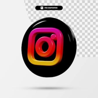 分離されたinstagramアプリケーションのロゴの3dレンダリング