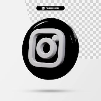 分離されたinstagramアプリケーションのロゴの3dレンダリング Premium Psd