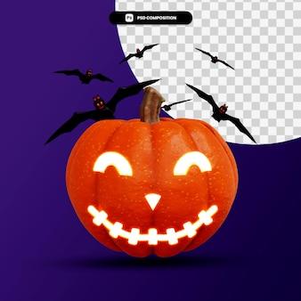 3d-рендеринг тыквенного фонаря jacks с изолированной концепцией хэллоуина летучих мышей