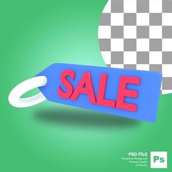 販売を言うキーホルダーアイコンオブジェクトの3dレンダリング
