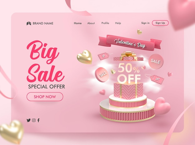 발렌타인 데이 판매 배너 방문 페이지의 3d 렌더링