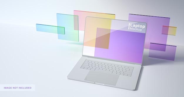 ノートパソコンのモックアップデザインの3dレンダリング