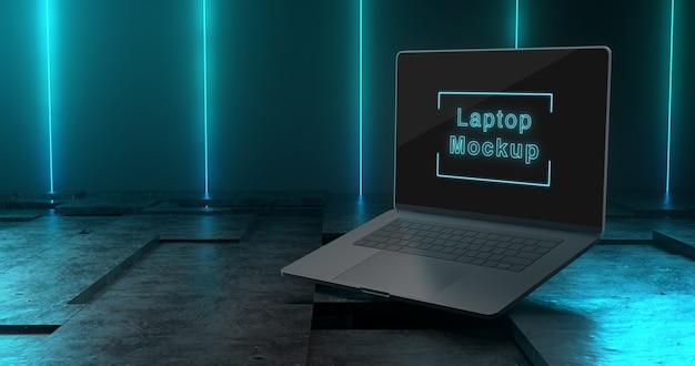 ノートパソコンのモックアップの3dレンダリング
