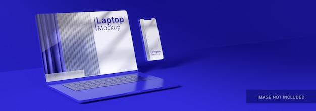 ノートパソコンの画面のモックアップの3dレンダリング