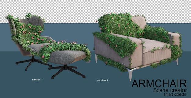 레저 의자와 식물의 3d 렌더링