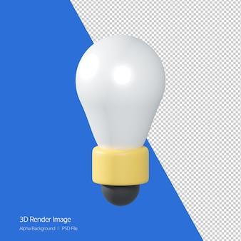 白で隔離されるlightbulbアイコンの3dレンダリング。アイデア、創造的なアイコン