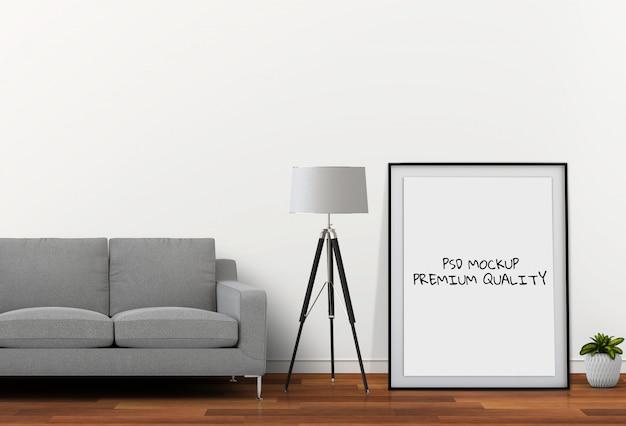 壁のリビングルームインテリアモックアップ空白ポスターの3 dレンダリング
