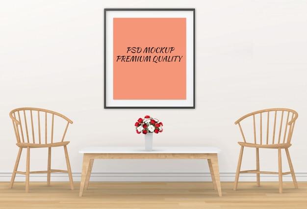 벽에 거실 인테리어 이랑 빈 포스터의 3d 렌더링
