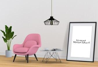 3D rendering of living Room Interior mockup