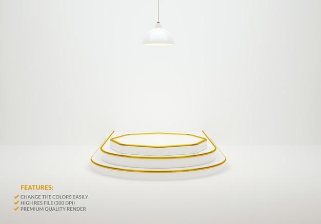 고급스러운 흰색과 금색 연단의 3d 렌더링