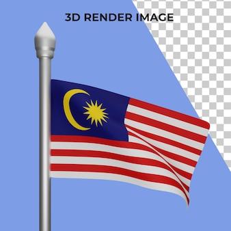 말레이시아 국기 개념 말레이시아 국경일 프리미엄 psd의 3d 렌더링