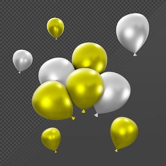 透視図からの多くの単一および積み重ねられた金と銀の風船の3dレンダリング