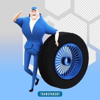 タイヤを使用した機械的キャラクターの3dレンダリング1