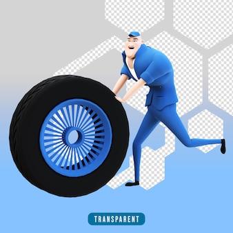 タイヤを使用した機械的なキャラクターの3dレンダリング