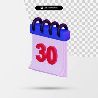 3d-рендеринг минимального значка календаря изолированы