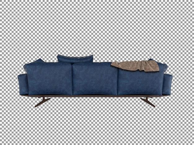 고립 된 미니멀 한 가죽 소파 인테리어의 3d 렌더링