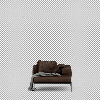 3d-рендеринг минималистского изолированного дивана