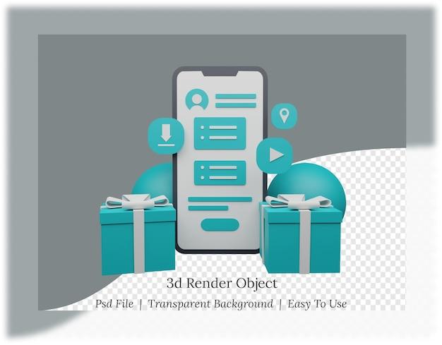 선물이있는 모바일 애플리케이션의 3d 렌더링