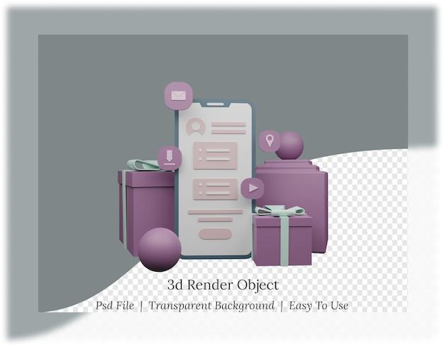 모바일 애플리케이션의 3d 렌더링