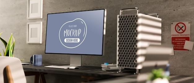 컴퓨터 모형과 현대 공동 작업 공간의 3d 렌더링