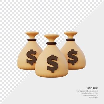 3d визуализация денежных мешков