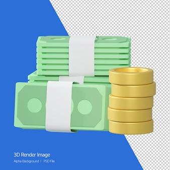 돈 지폐와 흰색 절연 동전 스택의 3d 렌더링.