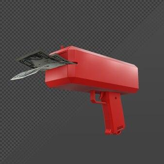 3d-рендеринг денежного пистолета в перспективе